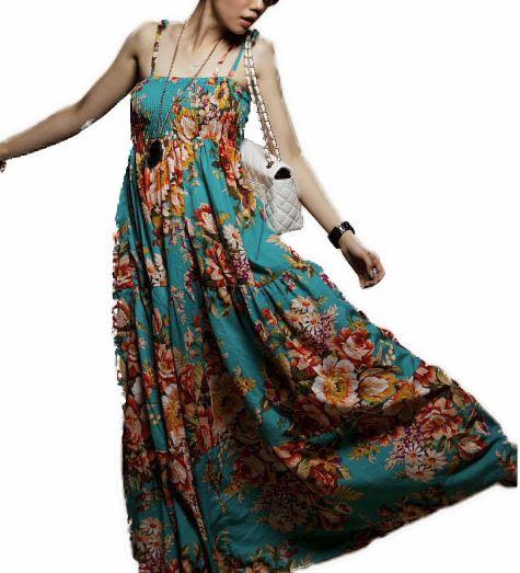 51f3a0b1dfaa Blå maxi kjole med blomster - Trendmode.dk