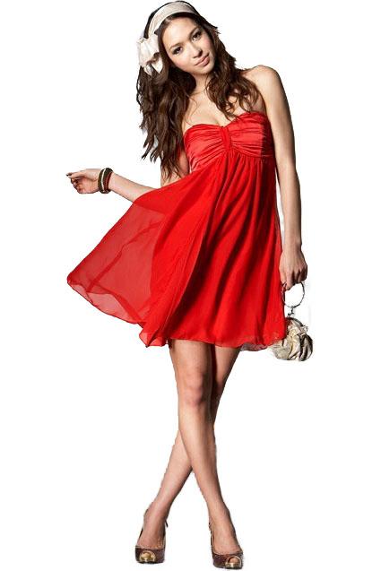 f849c325c507 Smuk rød chiffon kjole med satin ved brystet. - Trendmode.dk